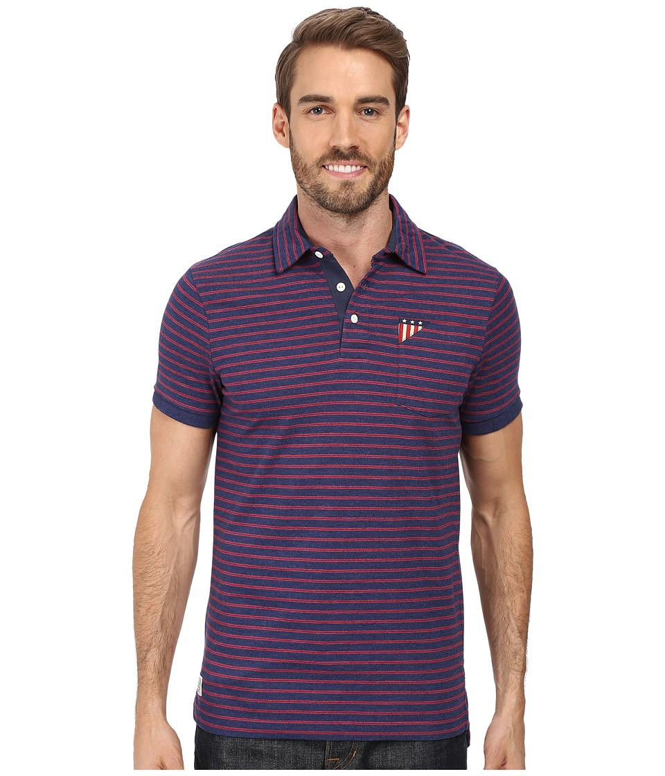 U.S. POLO ASSN. - Short Sleeve Slim Fit Balanced Stripe Pocket Polo Shirt (Dodger Blue Heather) Men's Short Sleeve Pullover