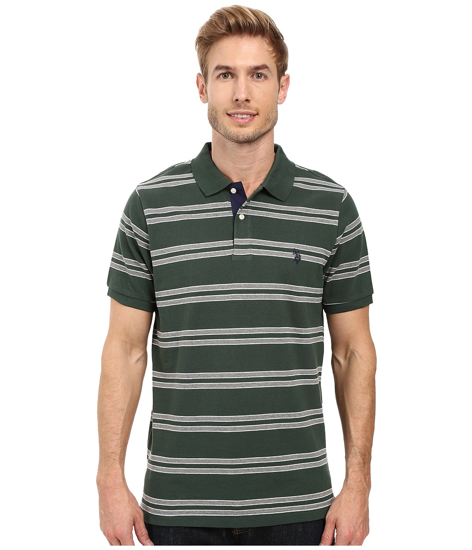 U.S. POLO ASSN. - Short Sleeve Balanced Stripe Pique Polo Shirt (Sycamore Green) Men's Short Sleeve Pullover