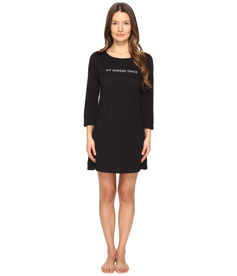 Kate Spade New York - Hit Snooze Twice Sleepshirt (Black) Women's Pajama