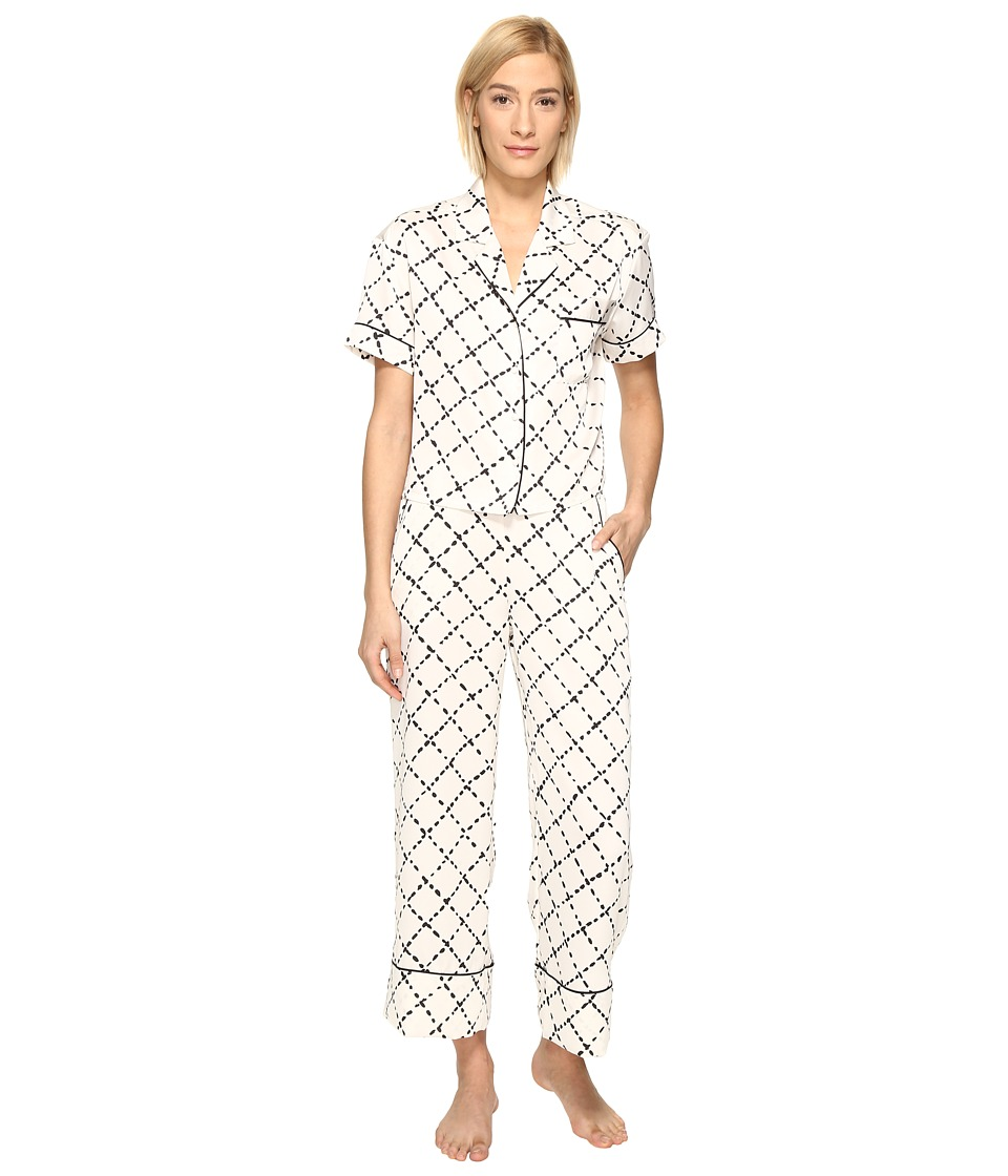 Kate Spade New York - Cropped PJ Set (Faux Quilt) Women's Pajama Sets