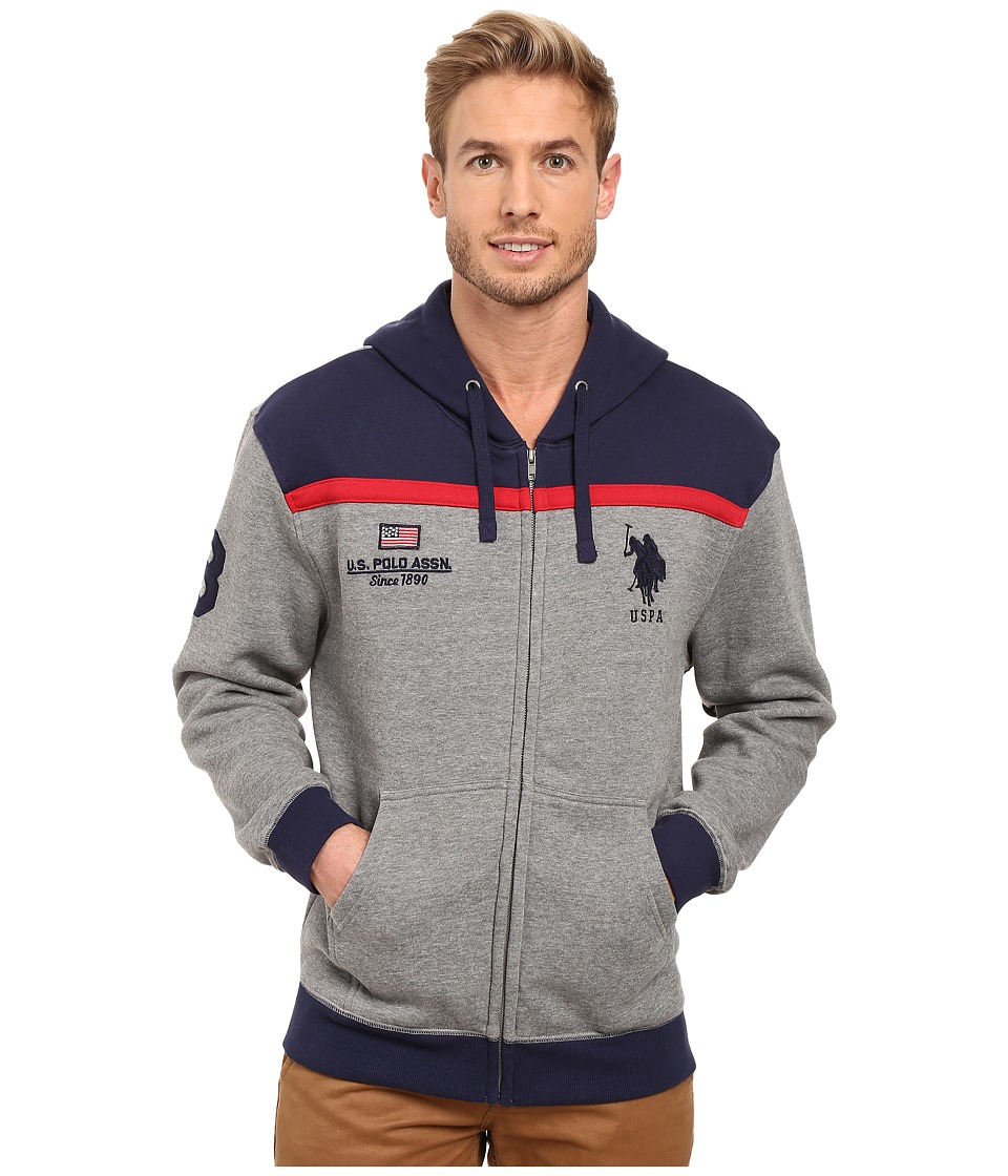 U.S. POLO ASSN. - Color Block Fleece Hooded Jacket (Campus Heather Grey) Men's Coat