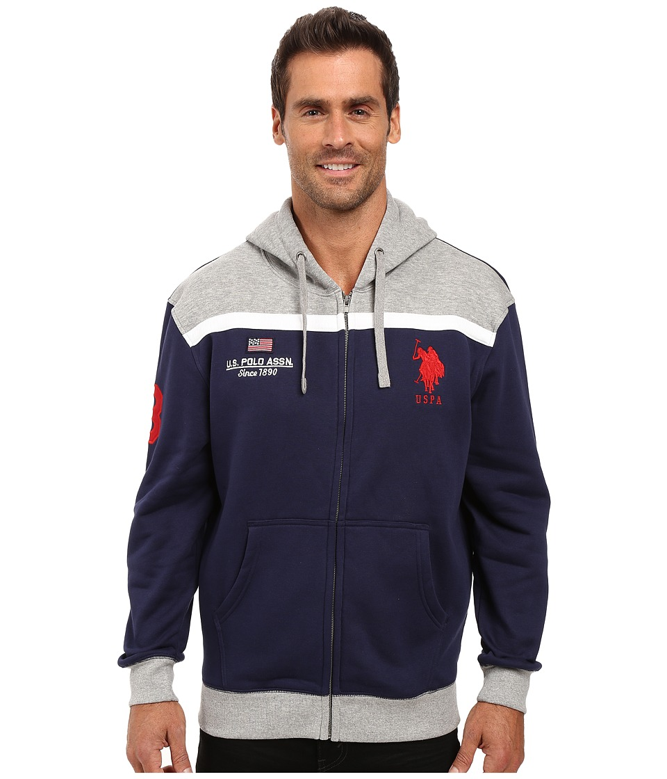 U.S. POLO ASSN. - Color Block Fleece Hooded Jacket (Classic Navy) Men's Coat
