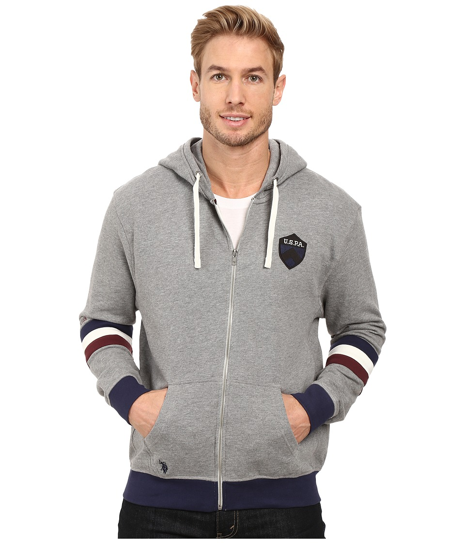 U.S. POLO ASSN. - French Terry Crest Logo Hooded Jacket (Campus Heather Grey) Men's Coat