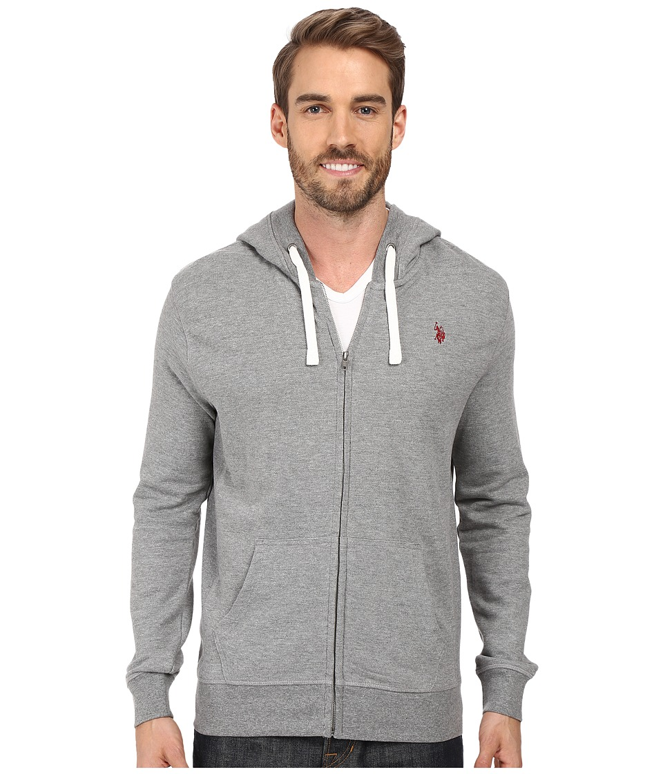 U.S. POLO ASSN. - Slim Fit Solid French Terry Hooded Jacket (Campus Heather Grey) Men's Coat