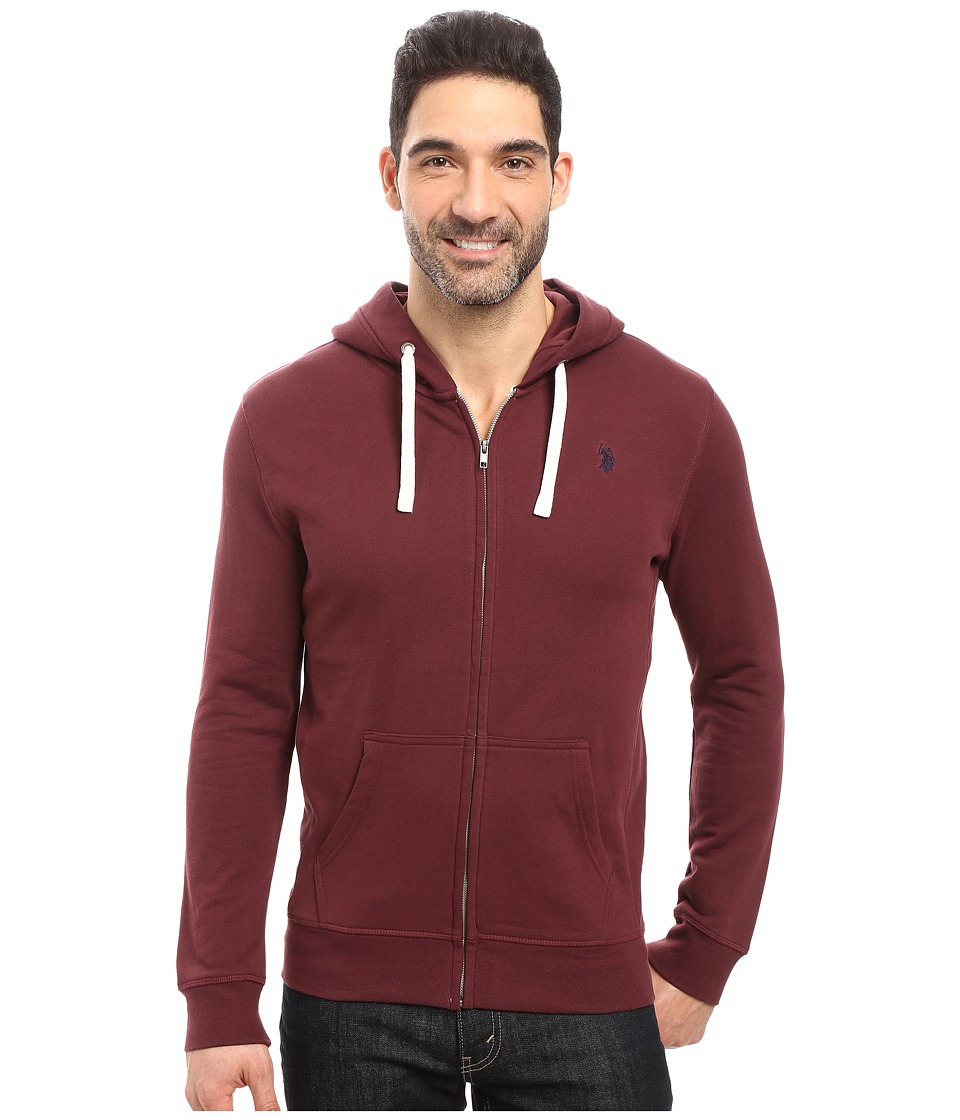 U.S. POLO ASSN. - Slim Fit Solid French Terry Hooded Jacket (East Burgundy) Men's Coat