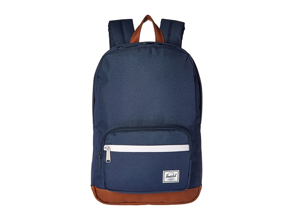 Herschel Supply Co. - Pop Quiz Mid-Volume (Navy/Tan Synthetic Leather) Backpack Bags
