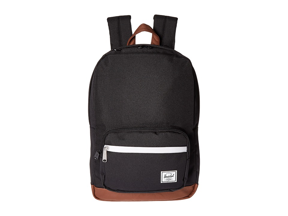 Herschel Supply Co. - Pop Quiz Mid-Volume (Black/Tan Synthetic Leather) Backpack Bags