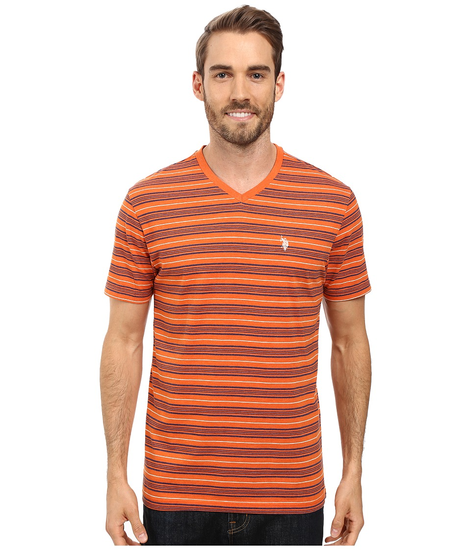 U.S. POLO ASSN. - Multi Stripe V-Neck T-Shirt (Pumpkin Heather) Men's T Shirt