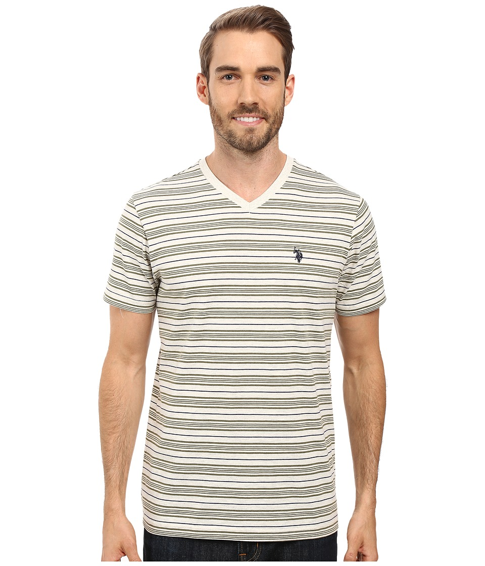 U.S. POLO ASSN. - Multi Stripe V-Neck T-Shirt (Oatmeal Heather) Men's T Shirt