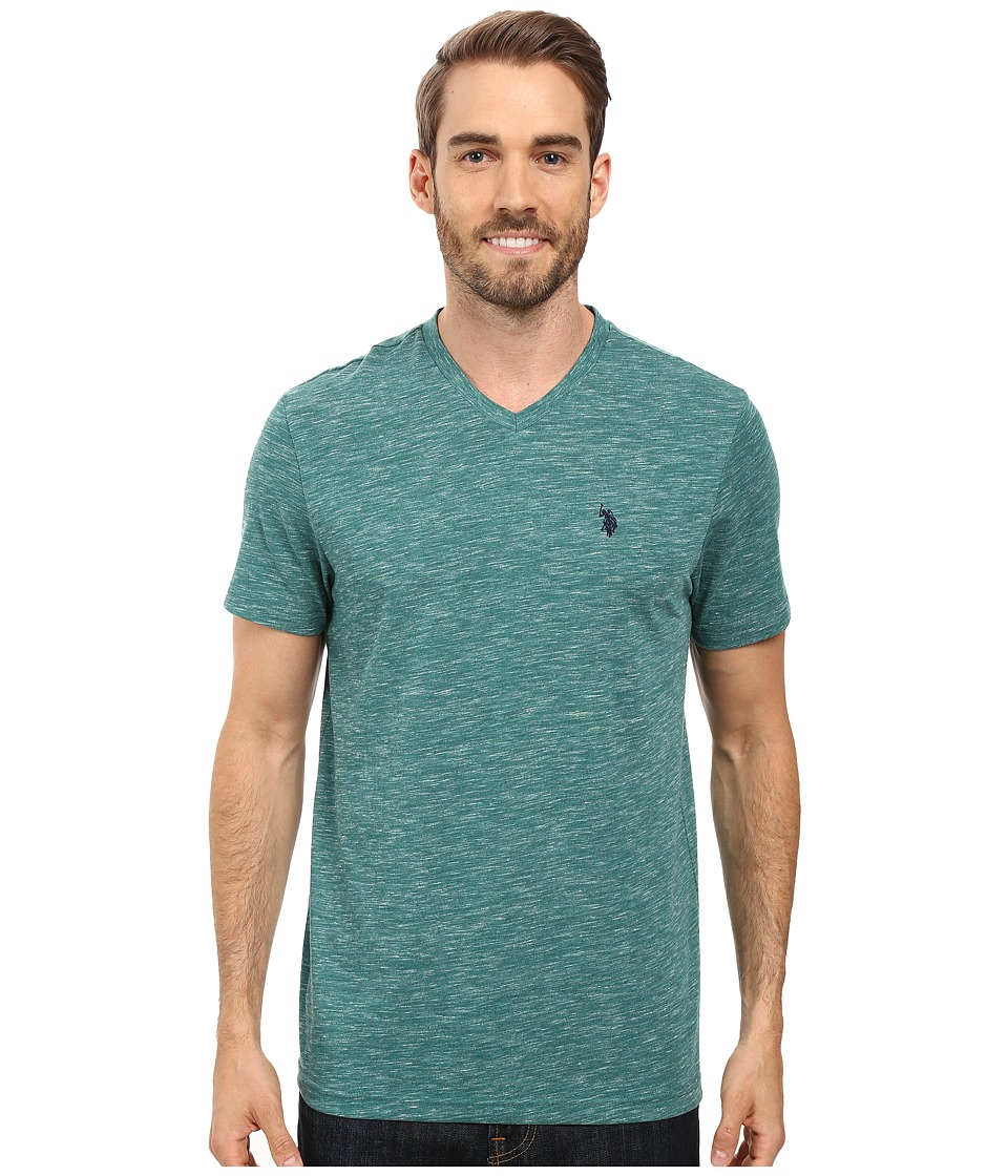 U.S. POLO ASSN. - Space Dyed V-Neck T-Shirt (Peacock Heather) Men's T Shirt