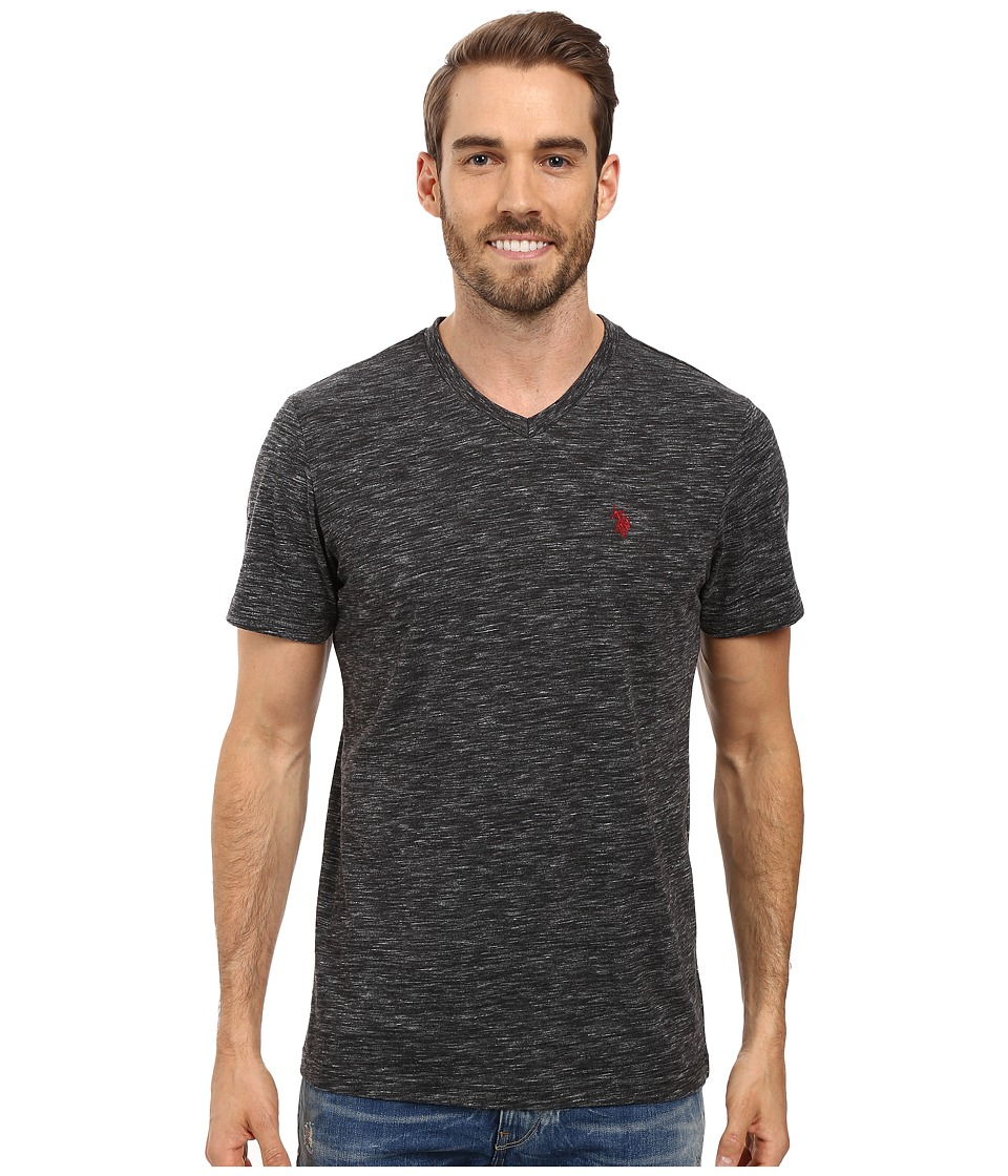 U.S. POLO ASSN. - Space Dyed V-Neck T-Shirt (Black Heather) Men's T Shirt