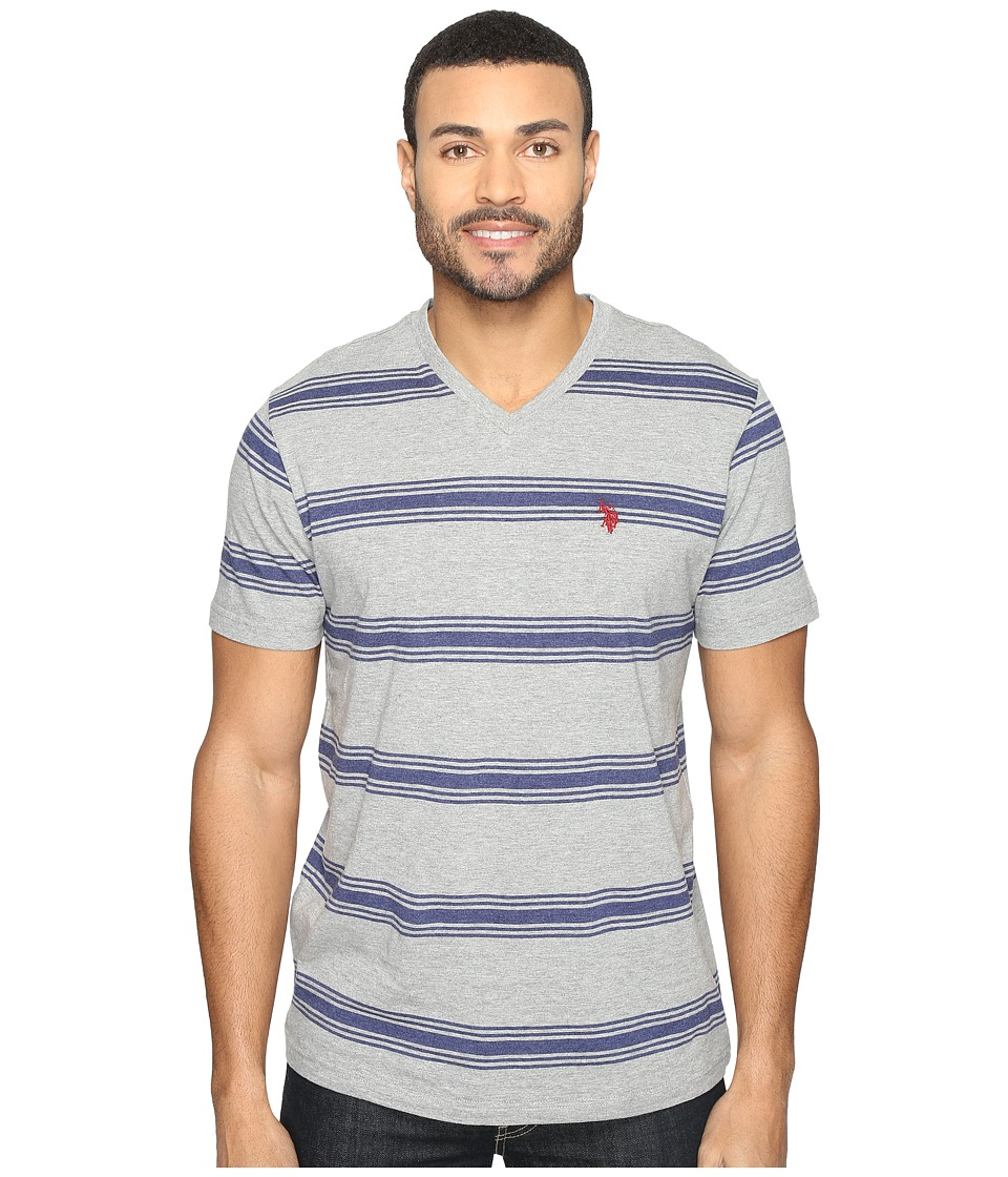 U.S. POLO ASSN. - Balanced Striped V-Neck T-Shirt (Heather Grey) Men's T Shirt