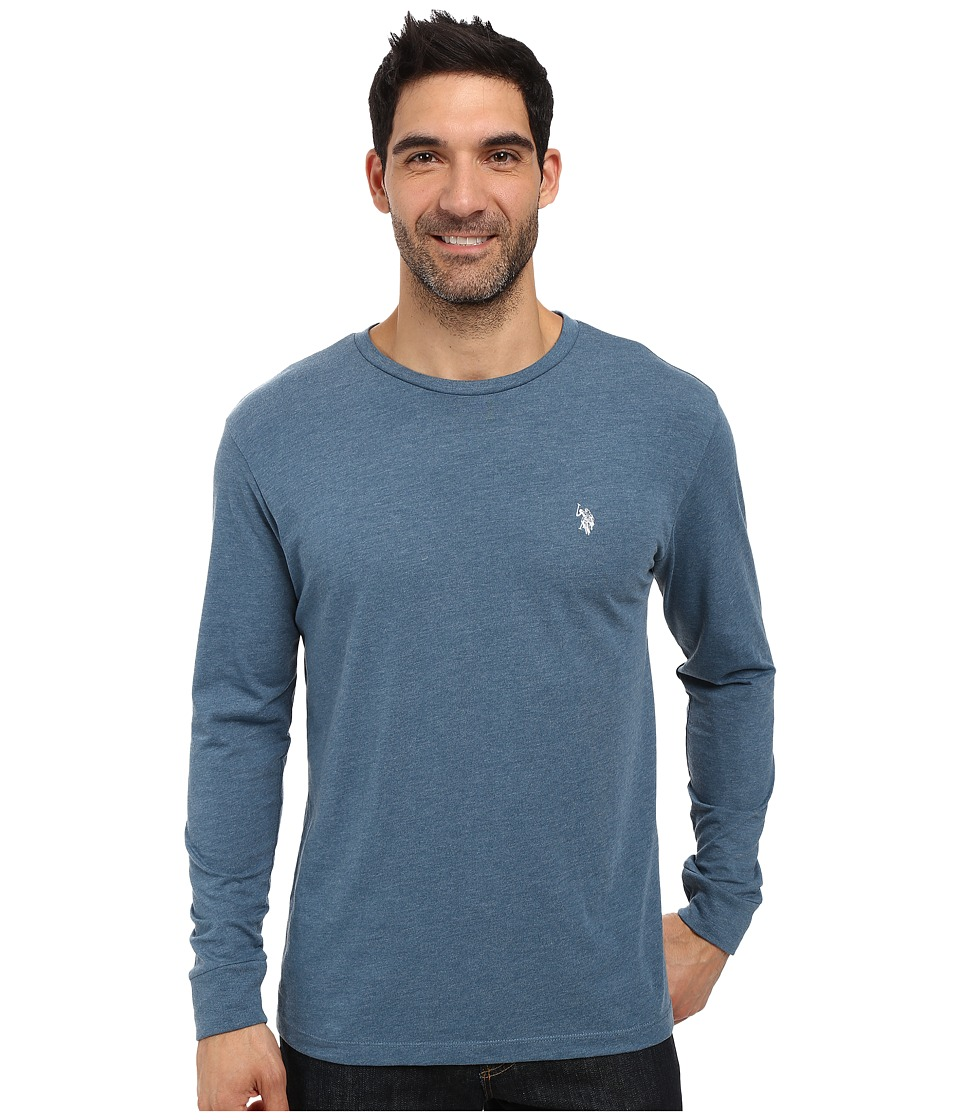 U.S. POLO ASSN. - Long Sleeve Crew Neck T-Shirt (Medium Blue Heather) Men's T Shirt