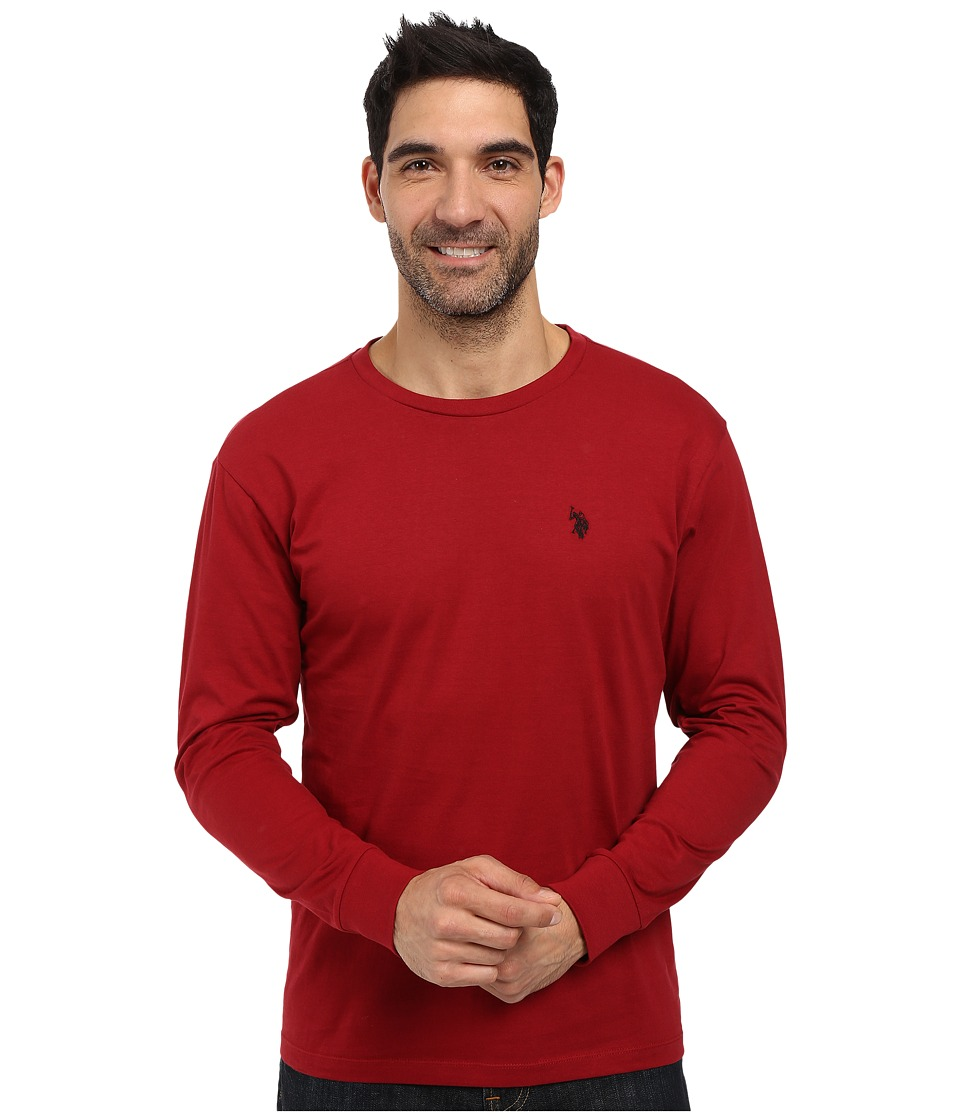 U.S. POLO ASSN. - Long Sleeve Crew Neck T-Shirt (University Red) Men's T Shirt