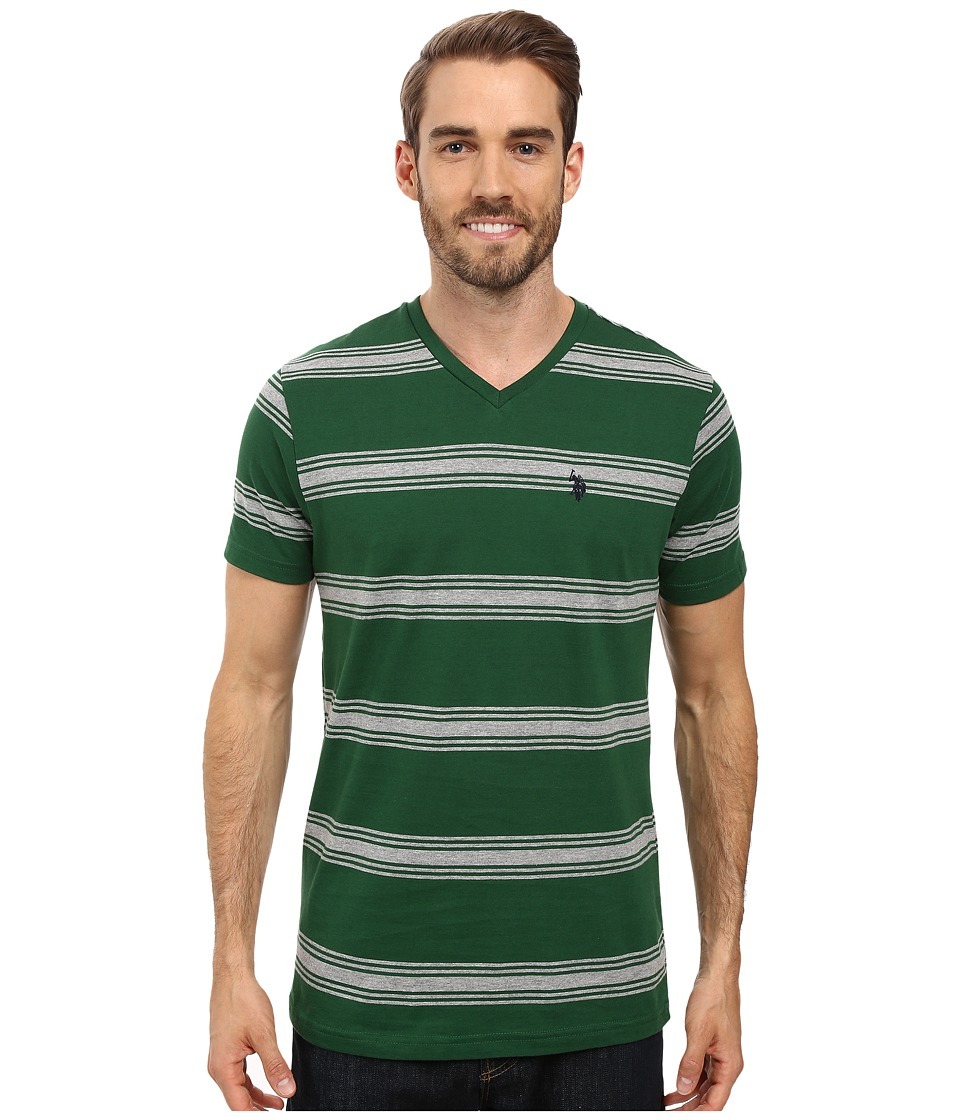 U.S. POLO ASSN. - Balanced Striped V-Neck T-Shirt (Essex Green) Men's T Shirt