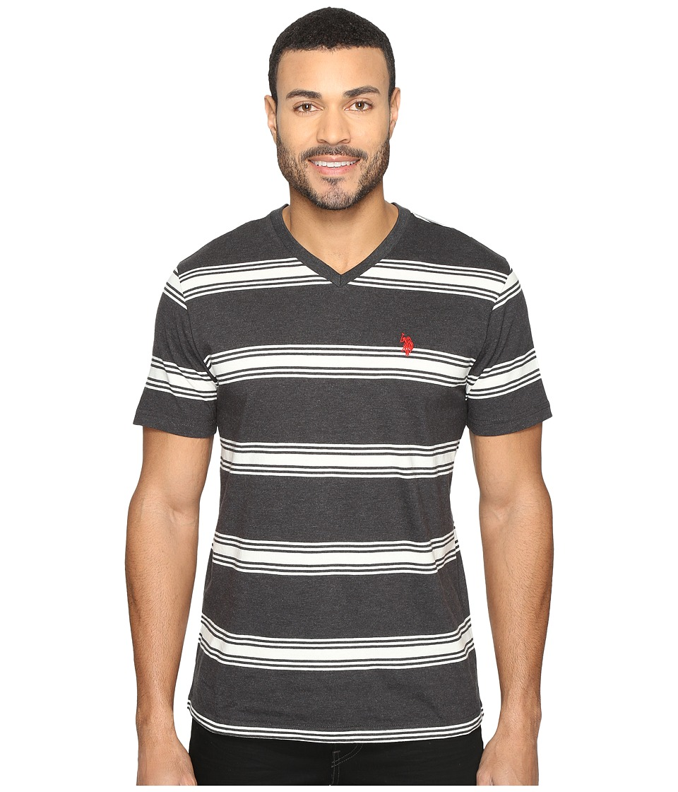 U.S. POLO ASSN. - Balanced Striped V-Neck T-Shirt (Black Heather) Men's T Shirt