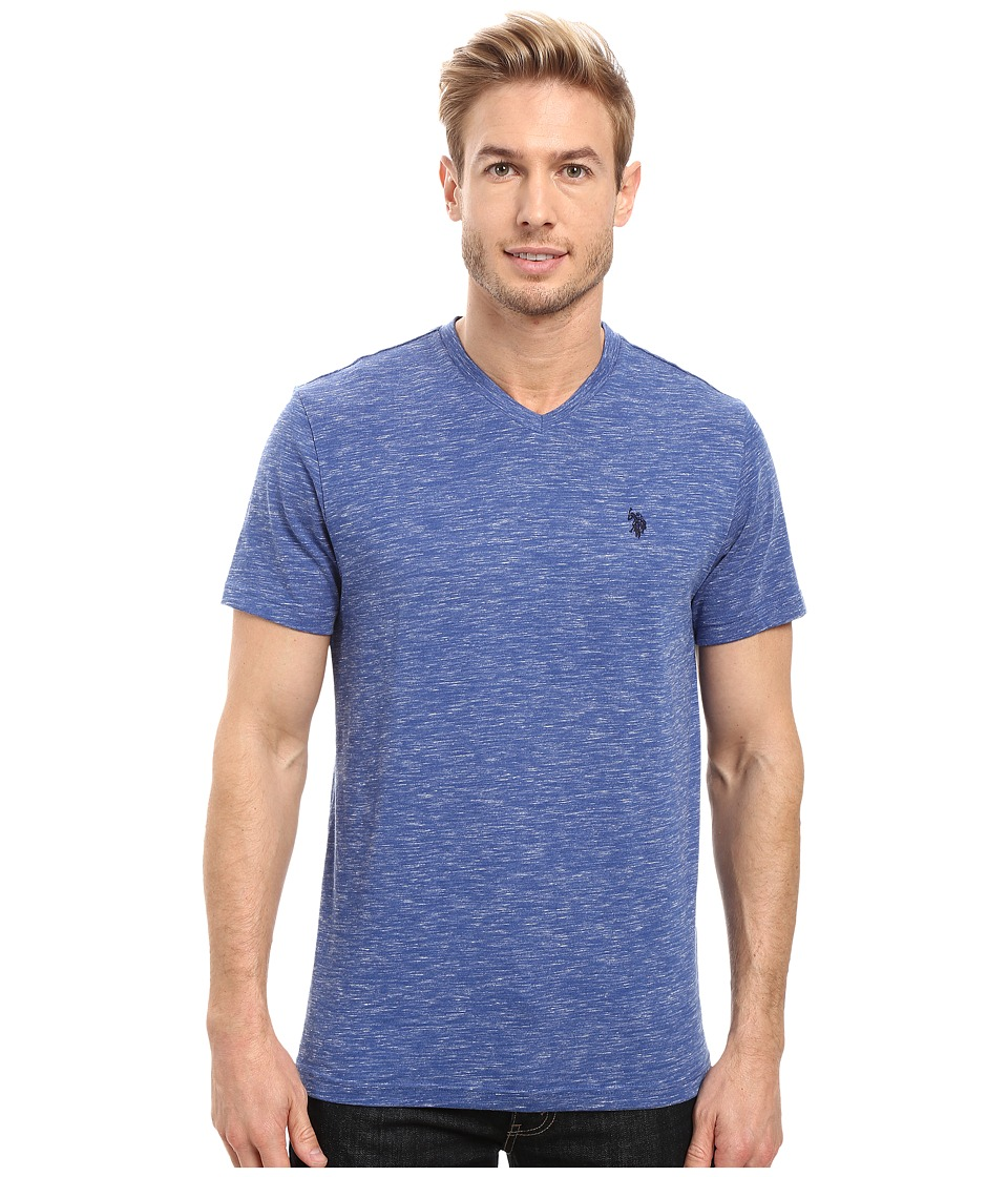 U.S. POLO ASSN. - Space Dyed V-Neck T-Shirt (Royal Blue Heather) Men's T Shirt
