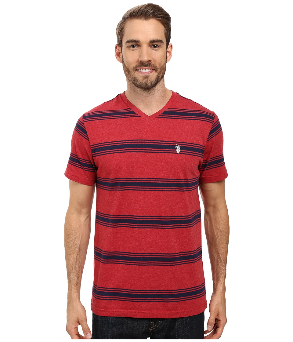 U.S. POLO ASSN. - Balanced Striped V-Neck T-Shirt (Red Heather) Men's T Shirt