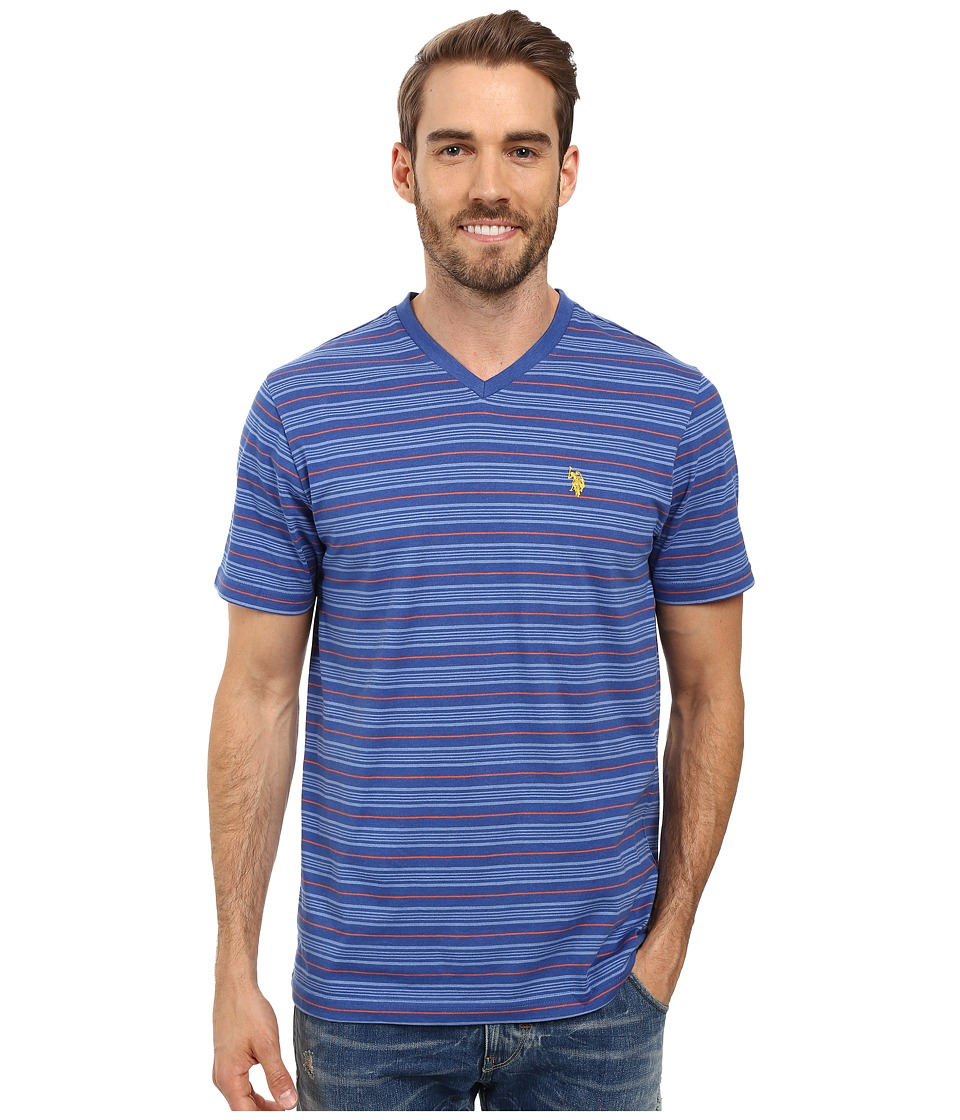 U.S. POLO ASSN. - Multi Stripe V-Neck T-Shirt (Royal Blue Heather) Men's T Shirt