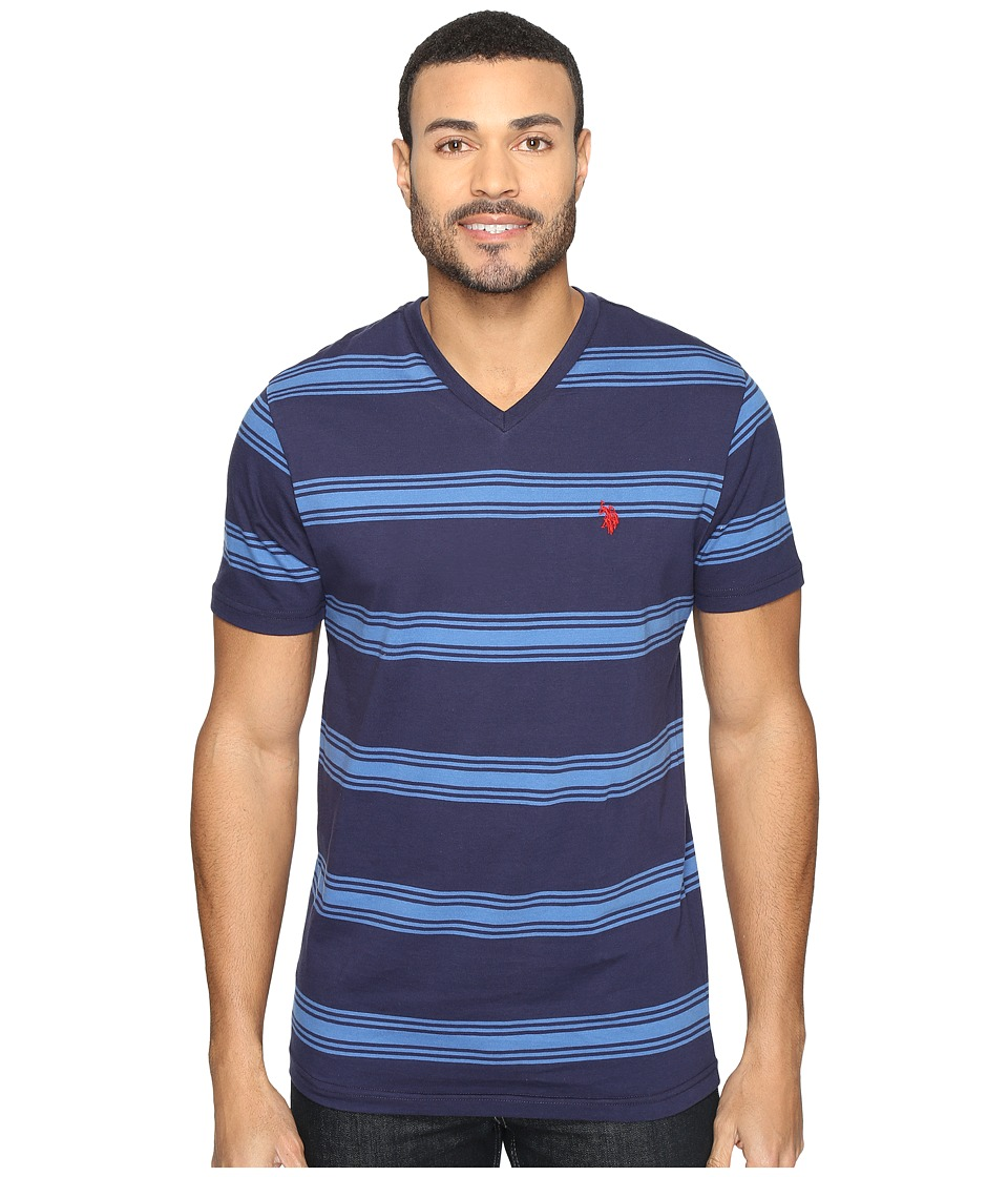 U.S. POLO ASSN. - Balanced Striped V-Neck T-Shirt (Classic Navy) Men's T Shirt