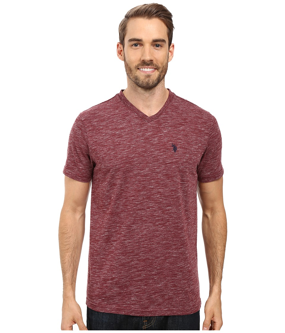 U.S. POLO ASSN. - Space Dyed V-Neck T-Shirt (Burgundy Heather) Men's T Shirt