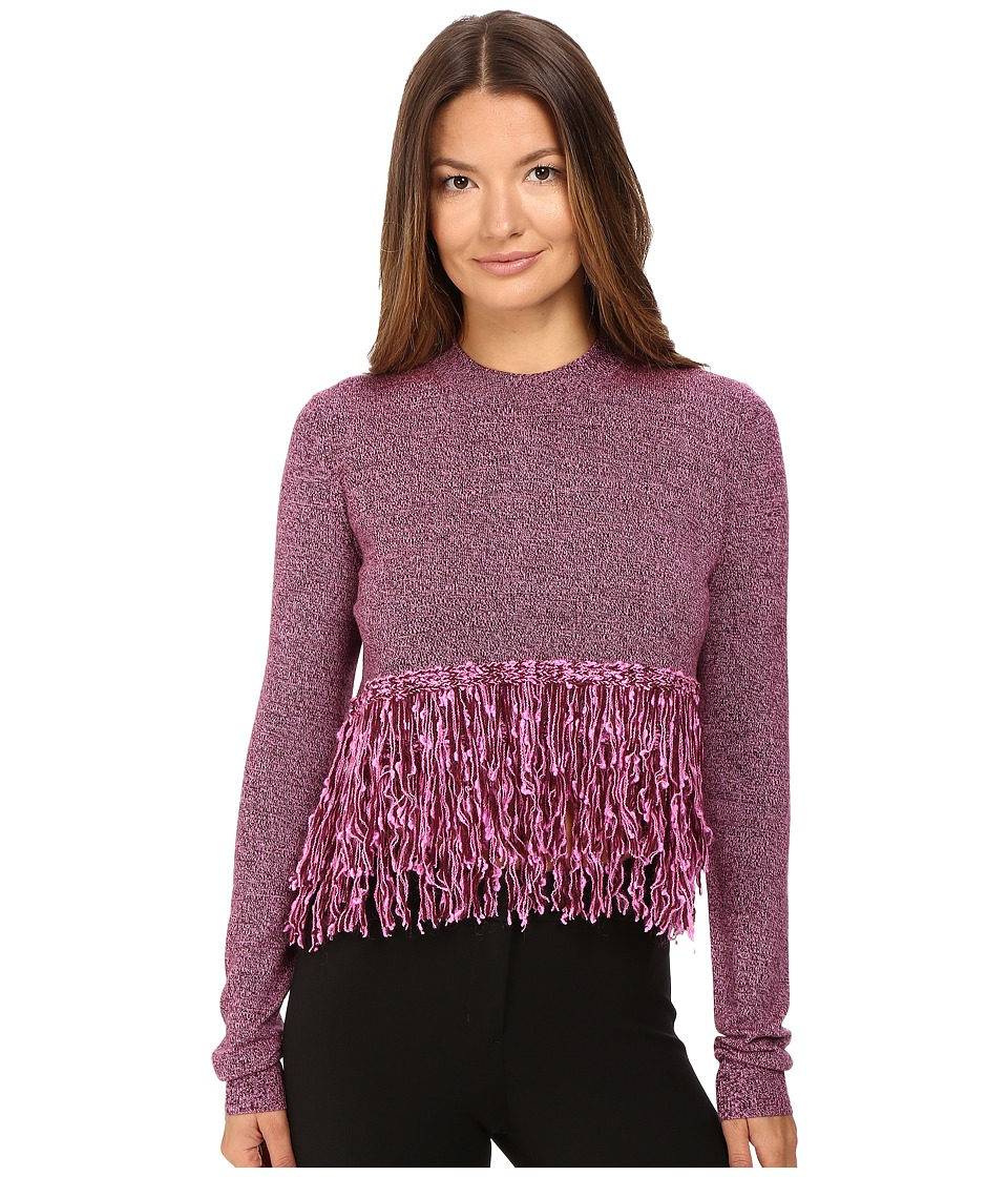 McQ - Fringe Crew Neck (Burgundy/Electric Pink) Women's Clothing
