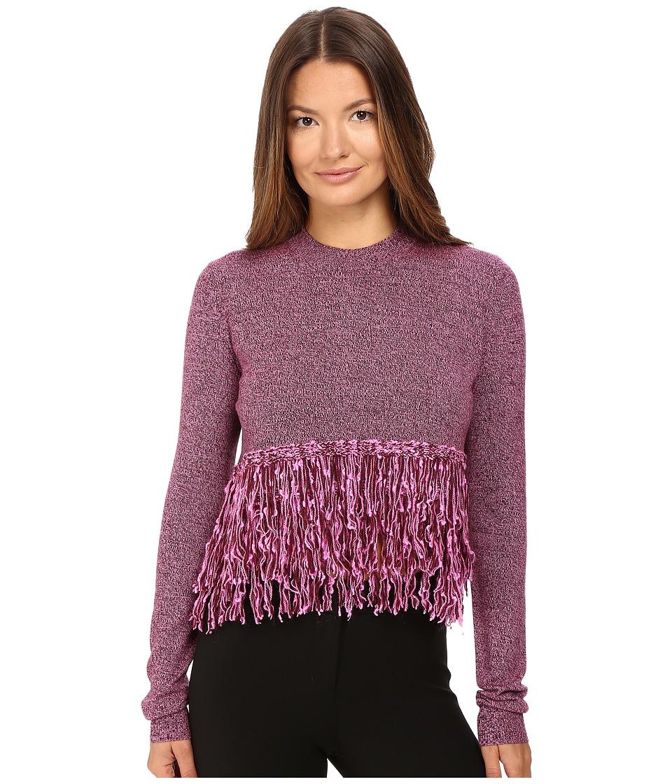 McQ - Fringe Crew Neck (Burgundy/Electric Pink) Women's Clothing