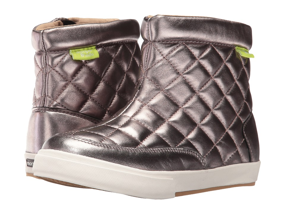Morgan&Milo Kids - Quinny Quilted Boot (Toddler/Little Kid) (Pewter) Girls Shoes