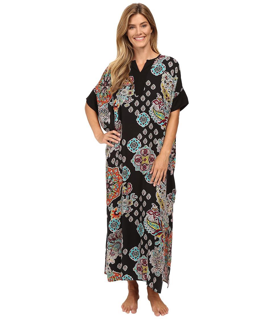N by Natori - Medallion Cascade Caftan (Black) Women's Pajama
