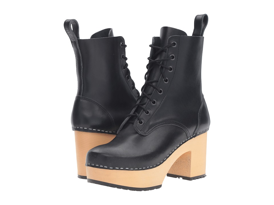 Swedish Hasbeens - Lace-Up Boot (Black) Women's Lace-up Boots