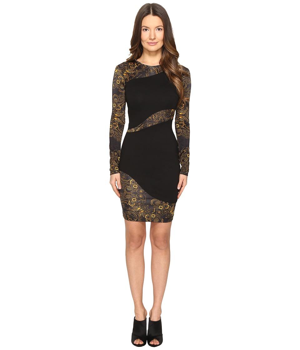 Versace Jeans Long Sleeve Placed Sheer Dress (Nero) Women