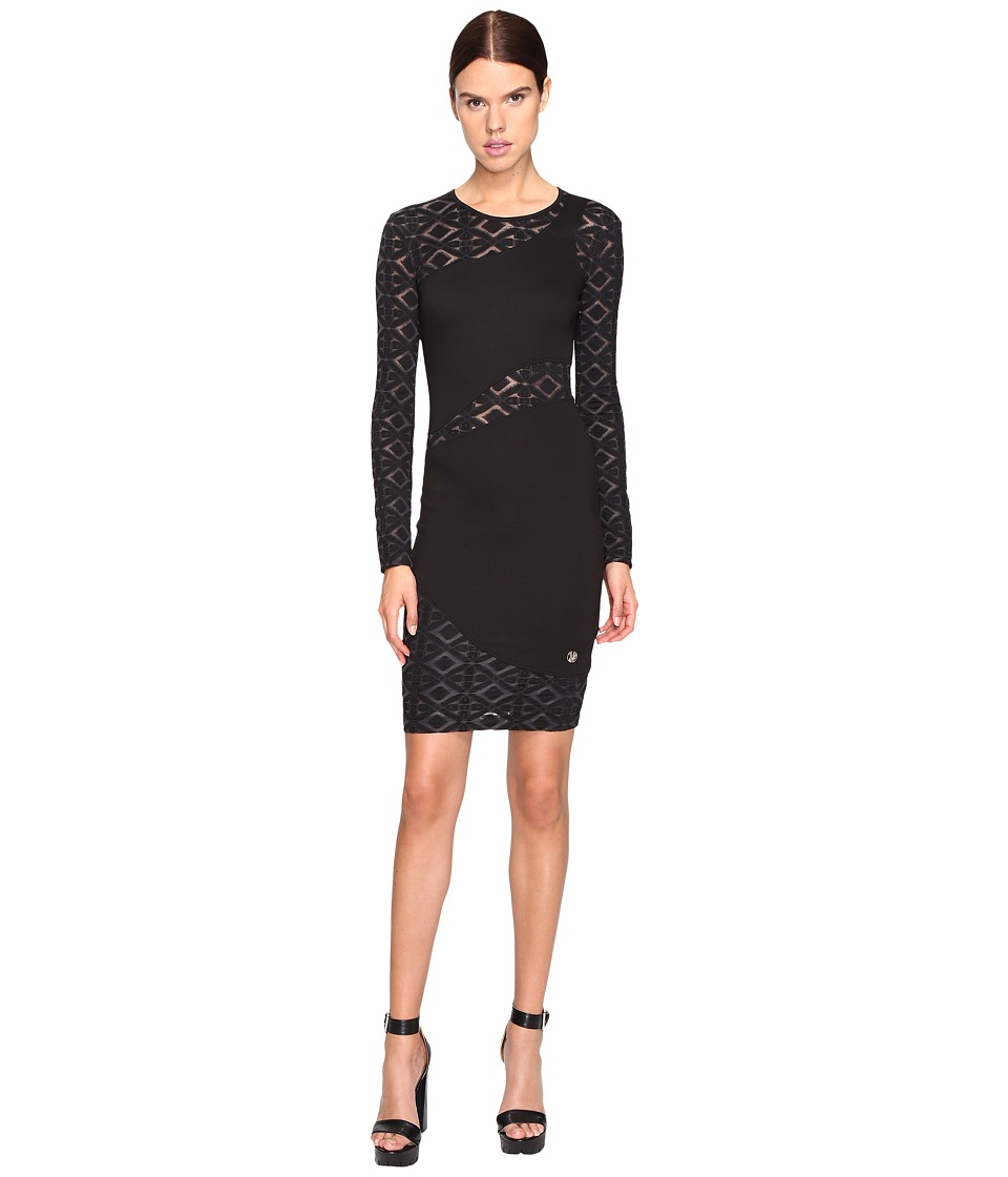 Versace Jeans - Long Sleeve Diamond Sheer Dress (Nero) Women's Dress