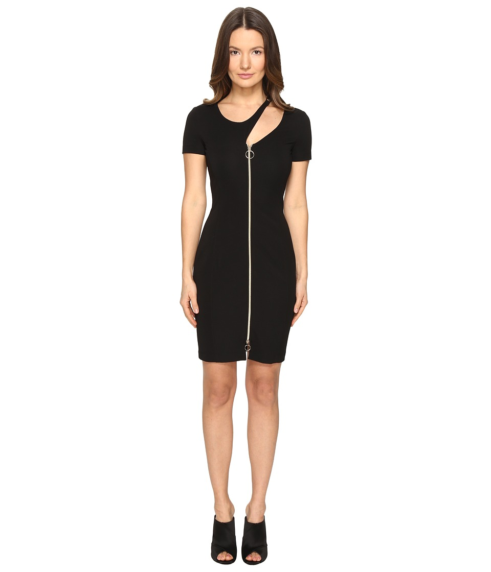 Versace Jeans - Short Sleeve Zip Front Cut Out Dress (Nero) Women's Dress