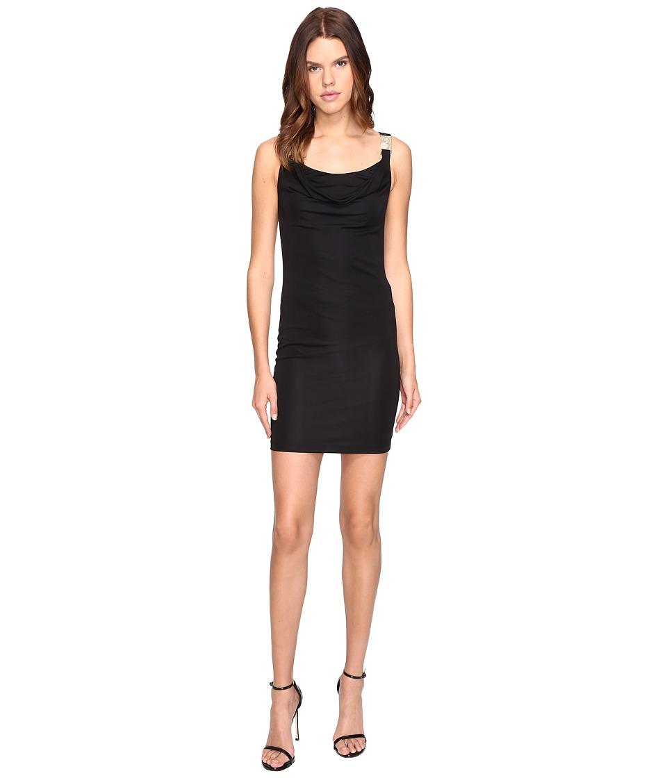 Versace Jeans Drape Neck Sleeveless Dress (Nero) Women