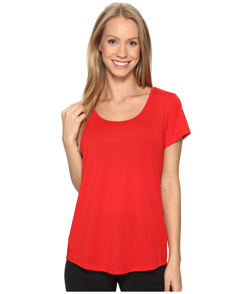 Lucy - S/S Workout Tee (Saucy Red) Women's Workout