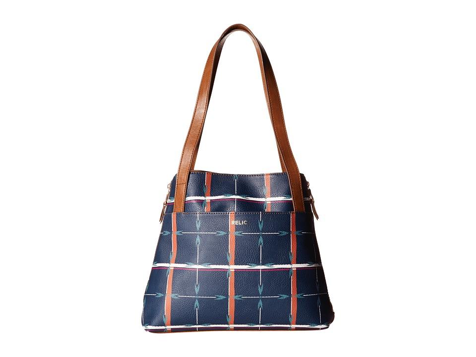 Relic - Emma Tote (Navy Plaid) Tote Handbags