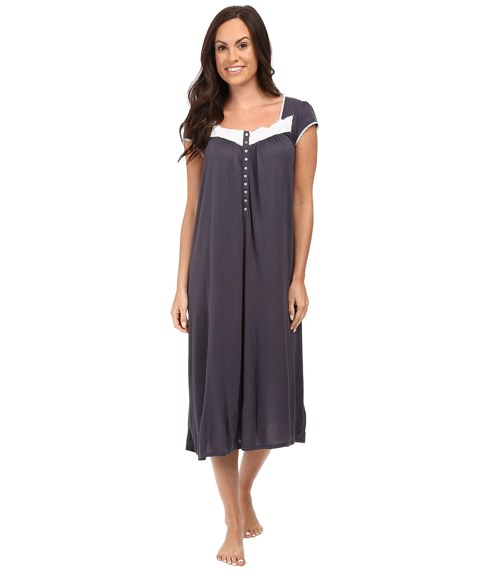 Eileen West - Waltz Nightgown Cap Sleeve (Charcoal) Women's Pajama