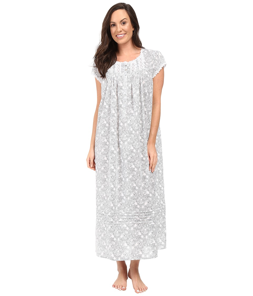 Eileen West - Cap Sleeve Ballet Nightgown (White/Grey) Women's Pajama