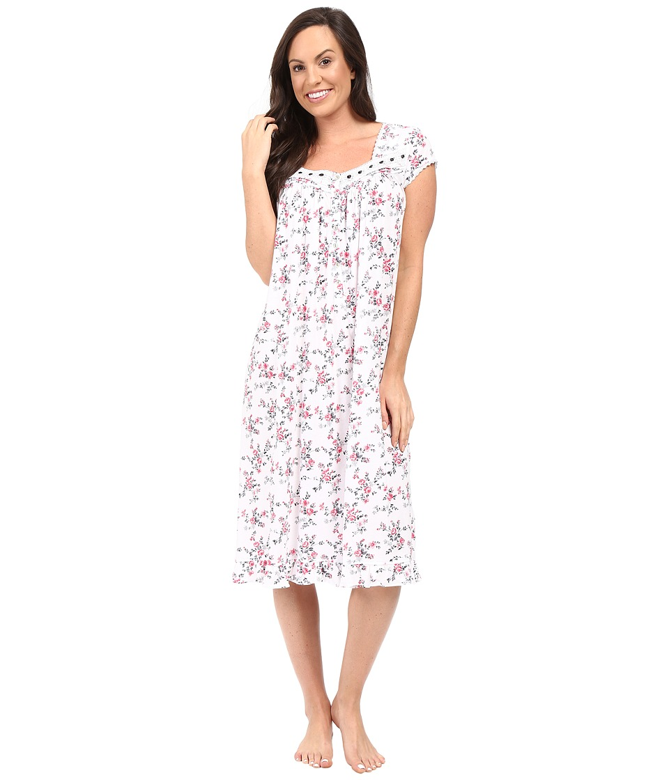 Eileen West - Cap Sleeve Waltz Nightgown (White Ground/Rudy Multi Floral) Women's Pajama