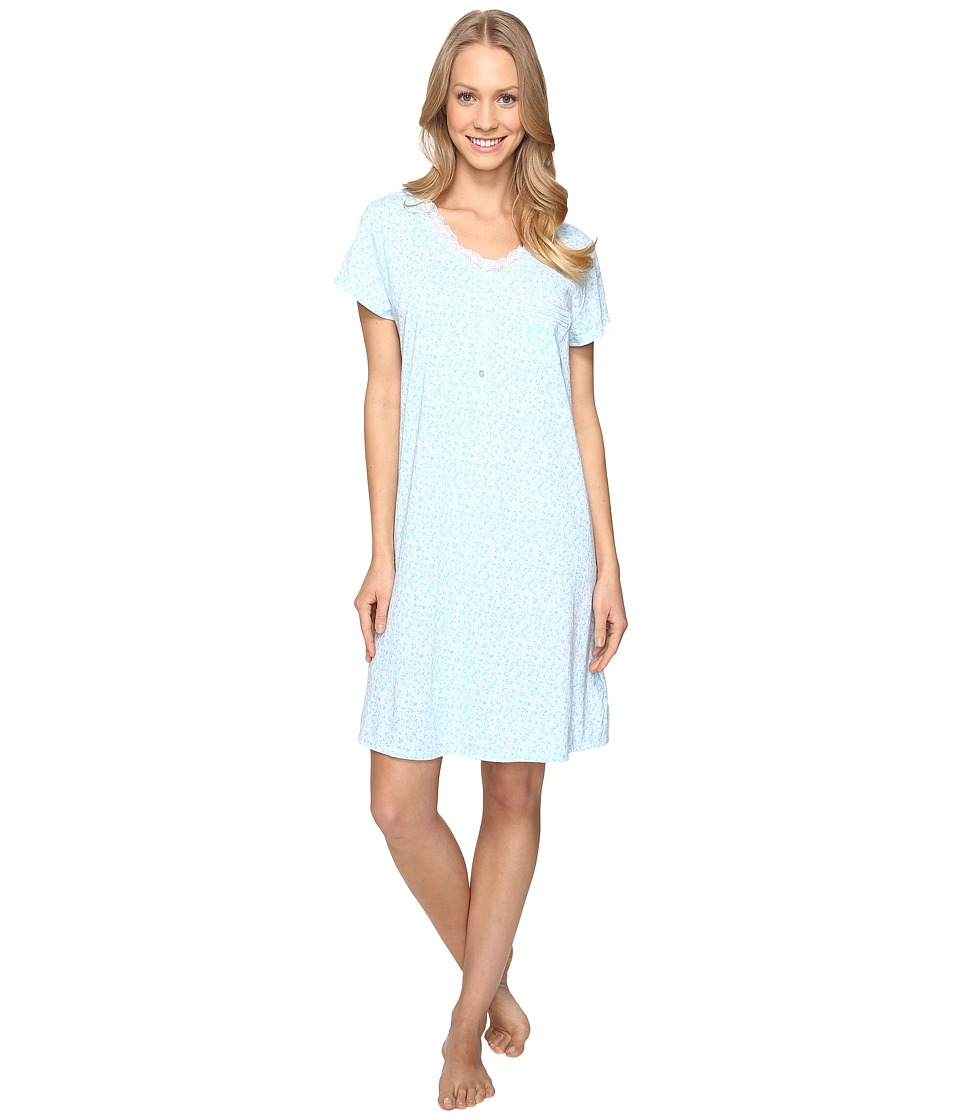 Eileen West - Cap Sleeve Short Sleepshirt (Aqua Floral) Women's Pajama
