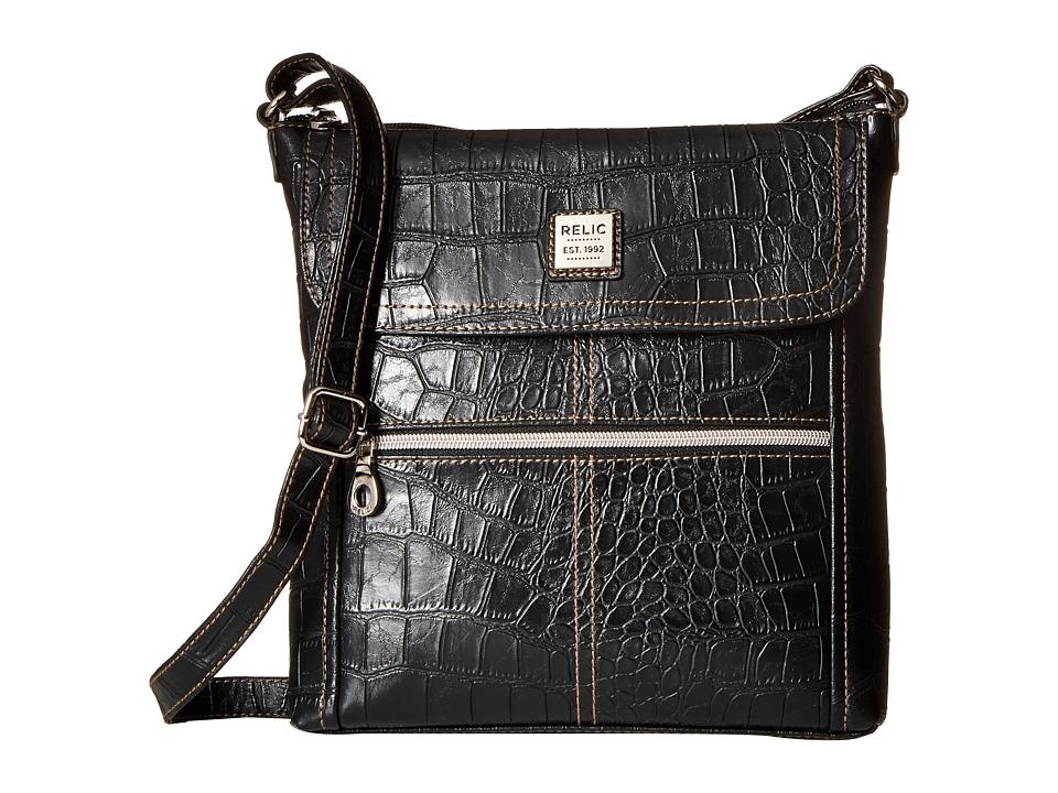 Relic - Erica Flap Crossbody (Black Croco) Cross Body Handbags