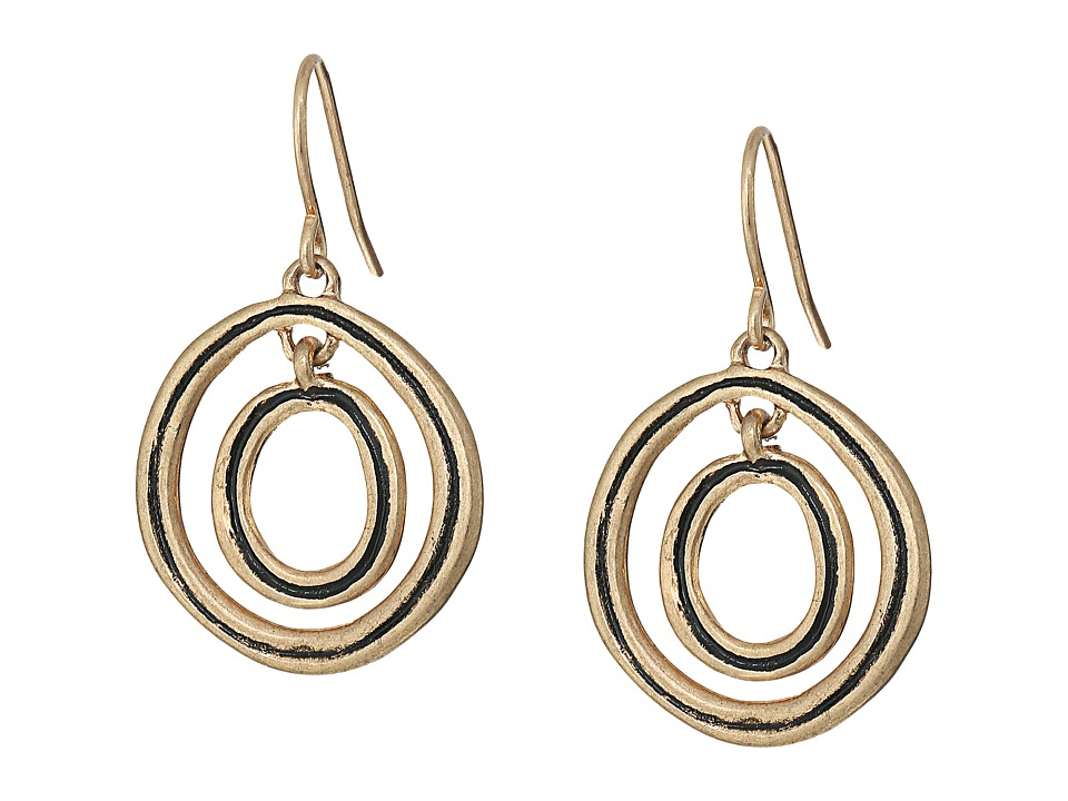 The Sak - Ribbed Orbit Drop Earrings (Gold) Earring