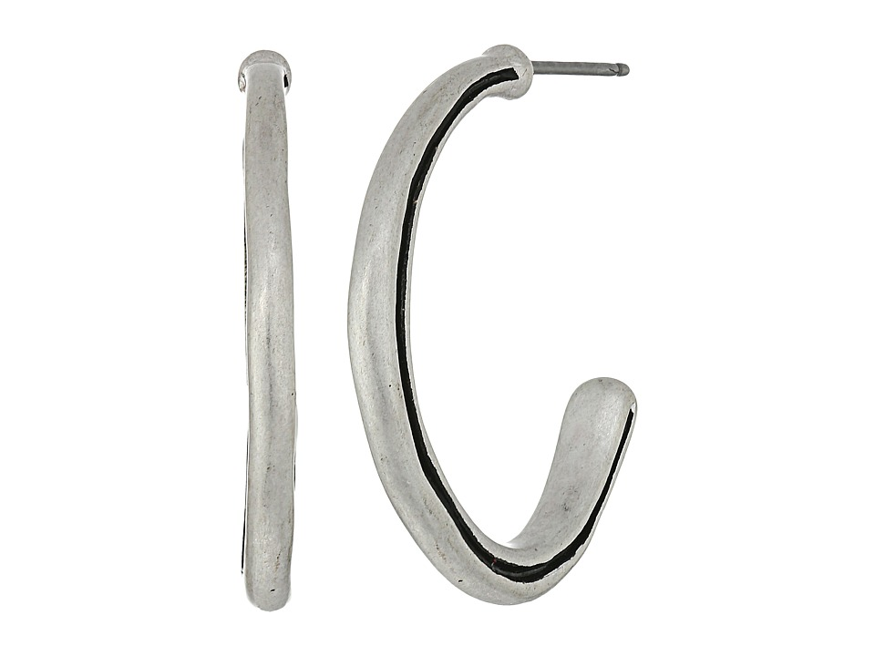 The Sak - Ribbed C Hoop Earrings (Silver) Earring