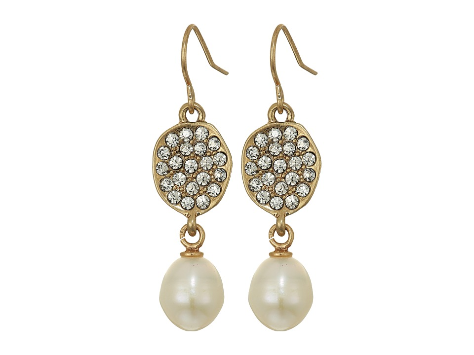 The Sak - Pave Pearl Drop Earrings (Gold) Earring