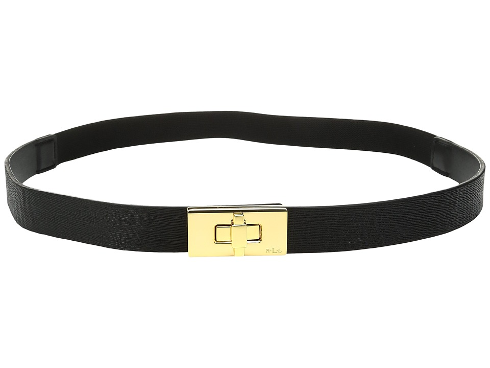 LAUREN Ralph Lauren - 1 Turnlock Closure on Saffiano Tab Front Stretch (Black) Women's Belts