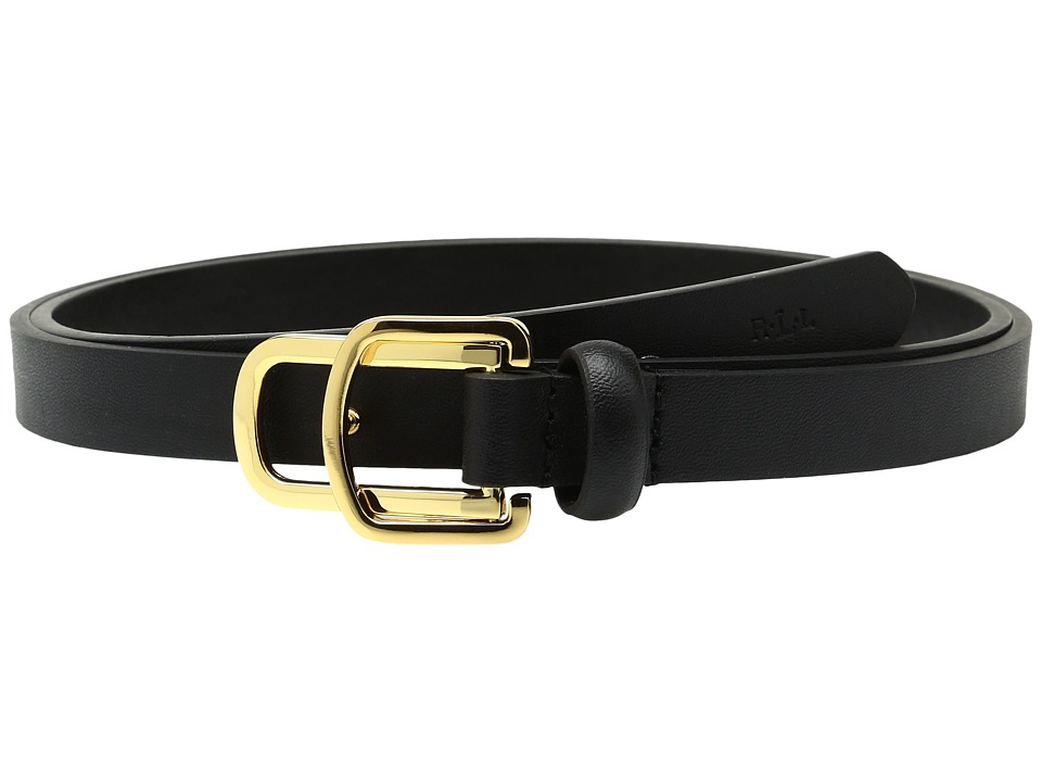 LAUREN Ralph Lauren - 5/8 Double Side Bar Buckle on Smooth Vachetta Strap (Black) Women's Belts