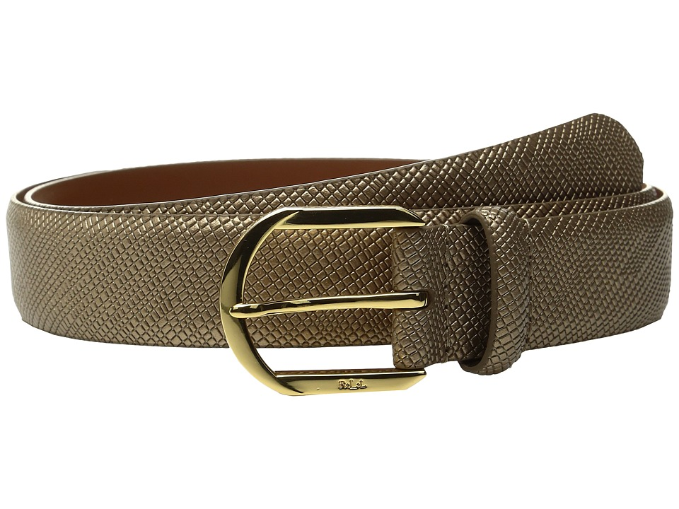 LAUREN Ralph Lauren - 1 1/4 Sidebar Buckle on Patent Crosshatch Strap (Gold Leaf) Women's Belts