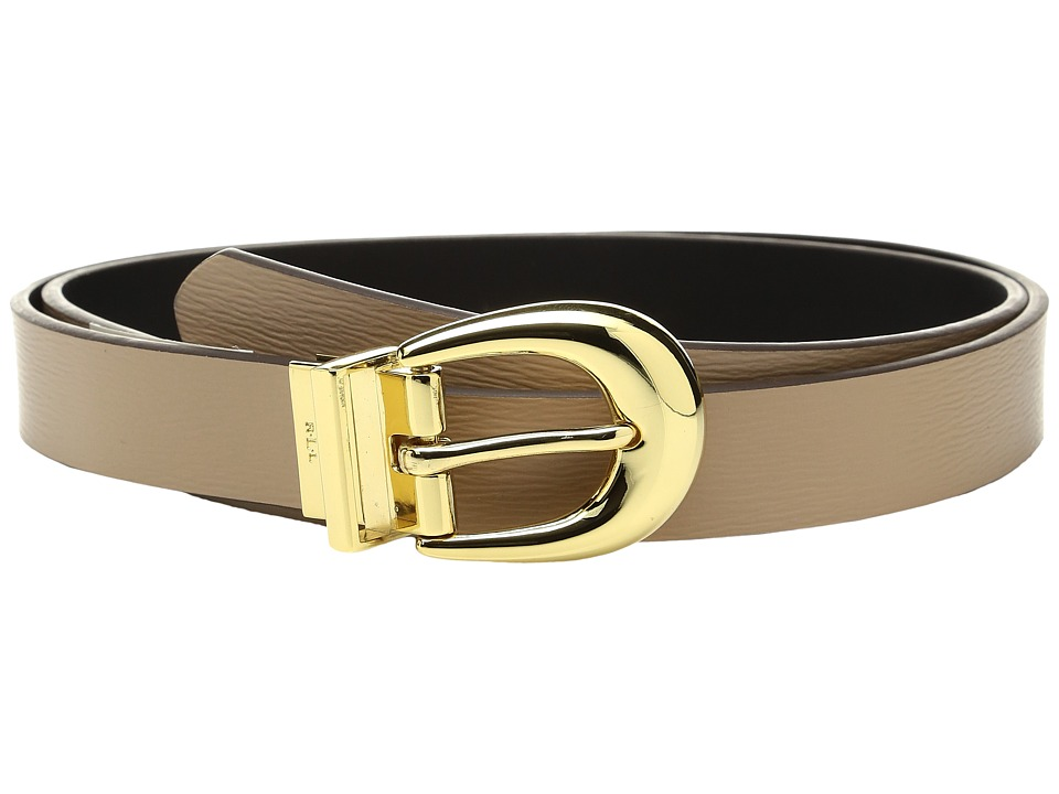 LAUREN Ralph Lauren - 1 Saffiano to Smooth Reversible Belt (Camel/Black) Women's Belts