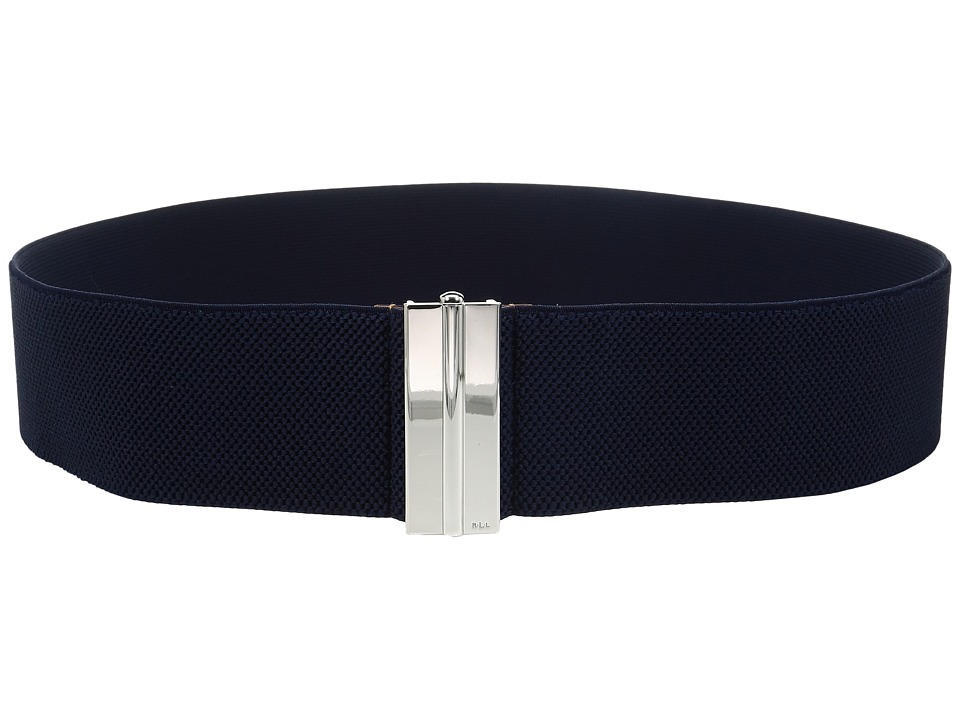 LAUREN Ralph Lauren - 2 1/2 Dress Beveled Sliding Interlock on Stretch Strap (Marine) Women's Belts