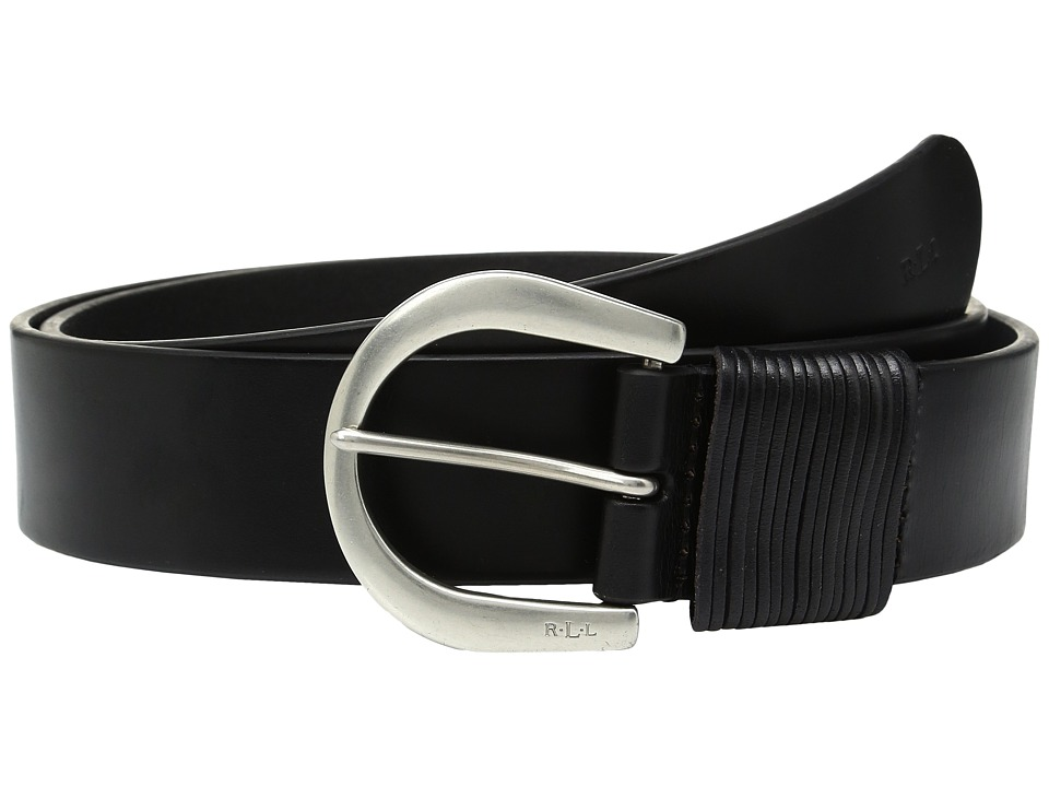 LAUREN Ralph Lauren - 1 1/2 London Wire Buckle on Veg Leather with Multi-Strand Keeper (Black) Women's Belts